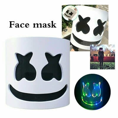 Marshmallow LED Casco integrale maschera arcobaleno DJ Cosplay Costume Party